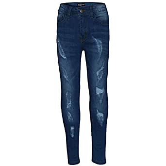 Boys Stretchy Jeans Kids Ripped Mid Blue Denim Skinny Pants Jeans Trousers 5-13Y