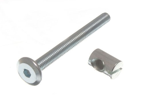 FURNITURE COT BED BOLT ALLEN HEAD WITH BARREL NUT 6MM M6 X 60MM ZP (pack of 20 ) onestopdiy.com