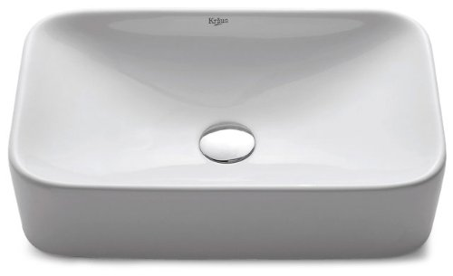 (Kraus KCV-122-ORB White Rectangular Ceramic Bathroom Sink with Pop Up Drain Oil Rubbed Bronze)