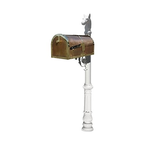 Provincial Collection Brass Mailbox in Polished Brass with decorative Lewiston post, #7 Ornate base and #1 Horsehead finial in White