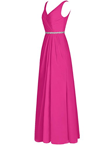 Neck Dresses Cdress V Womens Prom Dark Briesmaid Long Long green Evening Bead Chiffon Maxi Rq8wY0qa