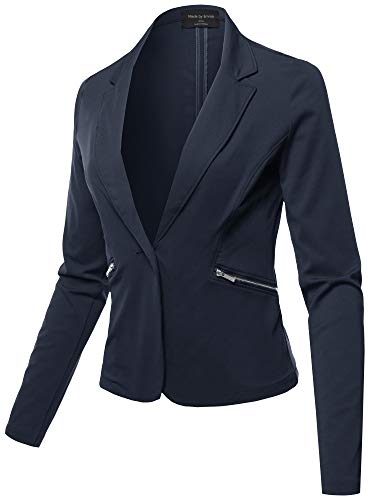 Made by Emma Casual Solid Single Button Long Sleeve Side Zipper Pockets Ponte Blazer Navy S]()