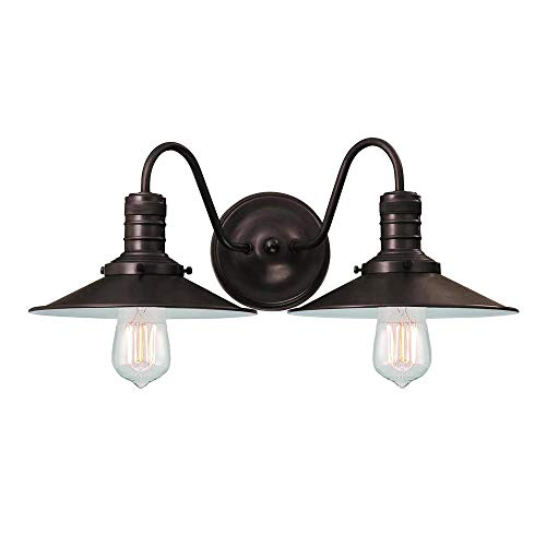 Langdon Mills 10248 Putnam 2-Light Industrial Bathroom Vanity Light, Burnished Bronze