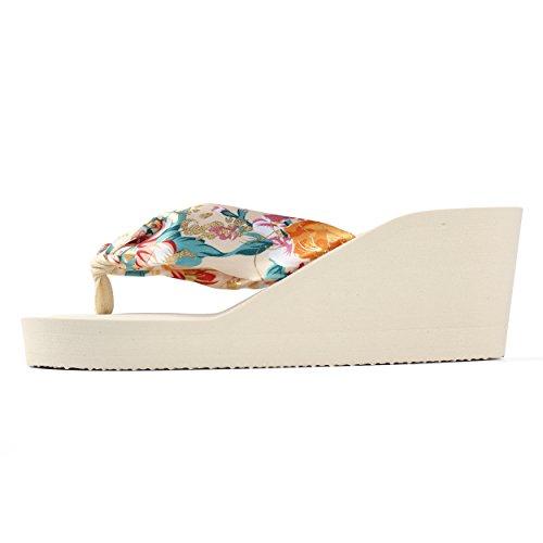 Flop Flip Sandals Aerusi Wedge Band Womans Floral Style White nXXqv6Y