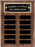 9 x 12 Walnut Perpetual Plaque Engraved with 12 Black Name Plates