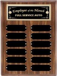 Walnut Perpetual Plaque - 9 x 12 Walnut Perpetual Plaque Engraved with 12 Black Name Plates