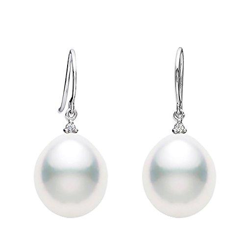 11x12mm Baroque White South Sea Cultured Pearl Diamond Dangle Earrings AA+ Quality 14K White (12mm Diamond Pearl)