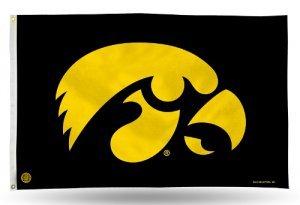 Iowa Hawkeyes Flag - Rico Industries NCAA Iowa Hawkeyes 3-Foot by 5-Foot Single Sided Banner Flag with Grommets
