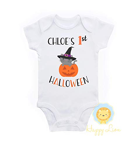 Happy Lion Clothing - 1st Halloween baby girl personalized bodysuit outfit