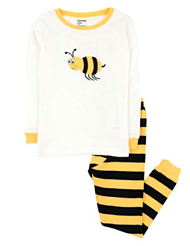 Leveret Kids & Toddler Pajamas Boys Girls Unisex 2 Piece Pjs Set 100% Cotton (Bumble Bee,Size 6-12 Months) -
