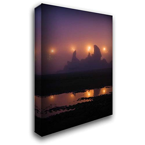 (OR, Brandon City Lights Silhouette sea Stacks 26x38 Gallery Wrapped Stretched Canvas Art by Rotenberg, Nancy)