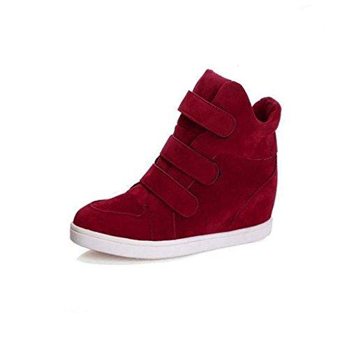 Botas Mujer,Ouneed ® Moda Mujer Invierno Calzado Oculto Zapatos calientes Flock Wedge Zapatos de mujer Rojo