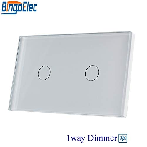 BingoelecAU US Standard Bingoelec 2gang 1way dimmer Light Switch,White Glass Panel Touch dimmer Switch,Fan Controller Switch