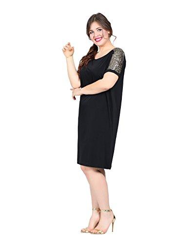 Damen Skater Kleid Mini Abendkleid auch Große Größen Schwarz, Frauen ...