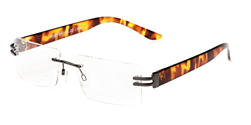Readers.com The Politician Bifocal Grey and Tortoise Frameless with Bifocal Lenses & Metal Temples Rectangle Reading (Rimless Bifocal Reading Glasses)