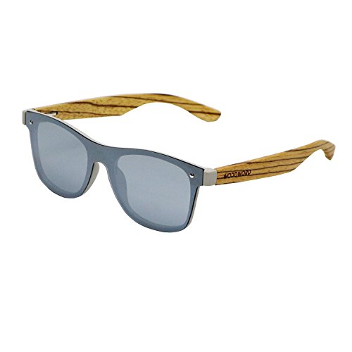 Wood Sunglasses Polarized for Women and Men - Wood Frame Sunglasses Wayfarer with Flat Mirror Lens