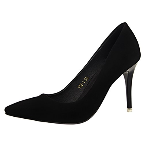 HooH Women's Sexy Office Lady Pointed Toe Setiletto Pump Black zwgB4ZtOlm