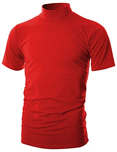 OHOO Mens Slim Fit Soft Cotton Short Sleeve Pullover Lightweight Mockneck with Warm Inside/DCT101-RED-L