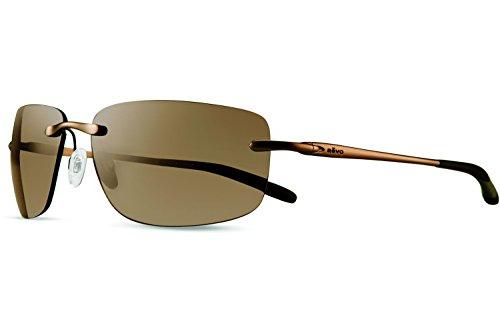 Revo Outlander RE 1029 02 BR Polarized Rectangular Sunglasses, Brown/Terra, 60 - Light Brown Tint Sunglasses