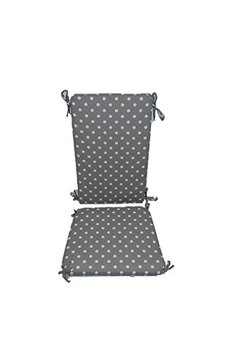 (Indoor / Outdoor Gray / Grey and White Ikat Polka Dot Rocking Chair 2 Pc Foam Cushion Set ~ Fits Cracker Barrel Rocker)
