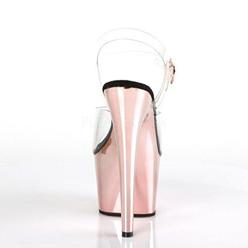 Pleaser Sexy Hot Esotico Ballerino Clubwear 7 Sandalo Piattaforma Donna Adore-708 Clr / Oro Rosa Cromata