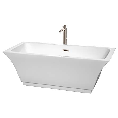 Wyndham Collection WCBTK151967ATP11BN Galina Freestanding Bathtub with Floor Mounted Faucet in Brushed Nickel, 67