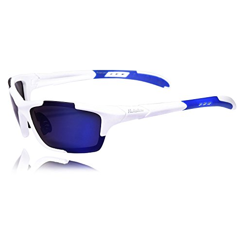 Hulislem Blade Sport Polarized Sunglasses, Revo Blue - White