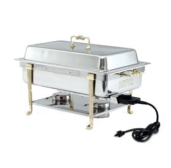 Vollrath Classic Design Full-Size Brass Trim Oblong 9 quart, electric chafer, stainless, mirror finish, SHORT END PLUG-IN, UL, complete with brass trim rack, dripless water pan, 2-1/2
