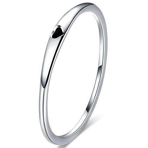 (Kingray Jewelry Stainless Steel Heart Shaped Wedding Band Promise Statement Stackable Ring)
