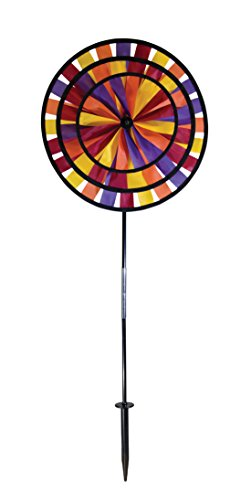 In the Breeze Autumn Triple Wheel Spinner- Ground Stake Included - Fall Themed Decor for your Yard and (Family Fun Halloween Yard Decorations)