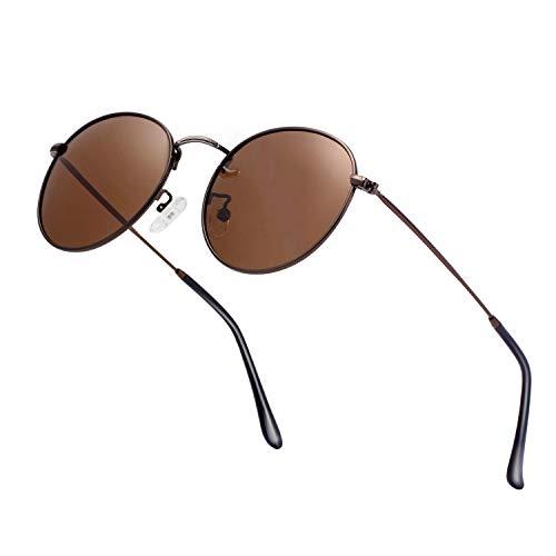 Unisex Round Sunglasses Vintage Retro Polarized Sun Glasses for Men Women Metal Frame Circle ()