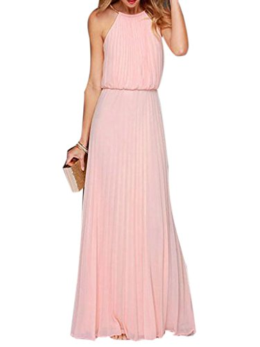 Choies Womens Chiffon Cut Away Pleated Evening Beach Maxi Dress Pink Medium