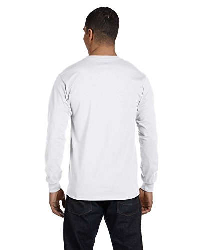 Hanes Mens Beefy-T 100% Cotton Long Sleeve T-Shirt White