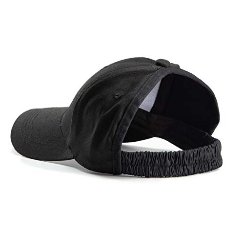 Edian Backless Baseball Cap for Women, Curly Hair Ponytail Hat for Afro Hair Dreadlocks Black -