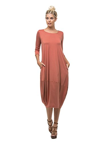 D6123 Ladies Round Neck Bubble Hem Long Dress W/ Pocket Light-Rust M