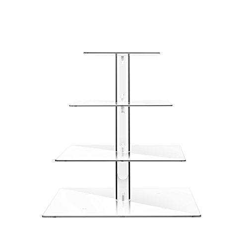 TWING Premium Acrylic Clear 4 Tier Cake Stand Wedding Cake Dessert Display Square