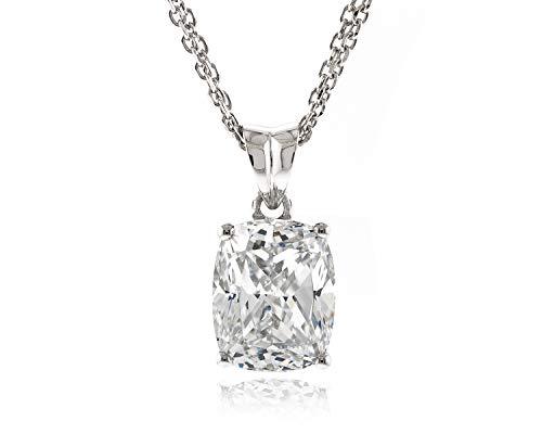 (Acacia Jewelry Sterling Silver 4 Carat (ctw) Top Grade Diamond Cut Rectangle Cushion 11x9mm Simulated Diamond CZ Pendant with 18