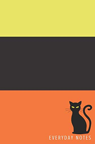 Everyday Notes: Ruled Journal/Diary Halloween Stripe Black Cat with Orange Yellow and Black