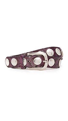 B. Belt Women's Large Stud Python Print Belt, Dark Berry, (Python Print Belt)