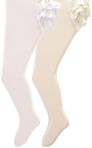 Country Kids Baby-Girls Newborn Microfiber Ruffle Rhumba Tights 2 Pairs, White/Ivory, 0-12 Months Ruffle Rhumba Tights