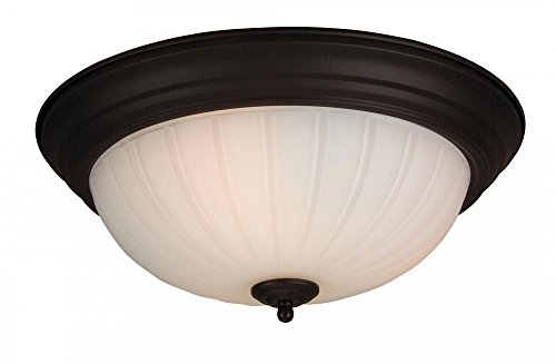 Craftmade X115-OB Bowl Flush Mount Light with Frosted Melon Glass Shades, Oiled Bronze -