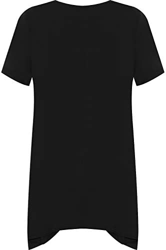 WearAll - damski duży rozmiar krÓtki pokrowiec renifer płatek śniegu chusteczka higieniczna obrębek długi top damski t-shirt - 44-56: Odzież