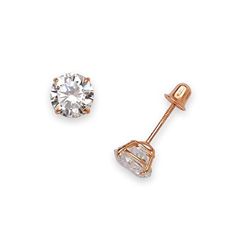 (14k Rose Gold Solitaire Round Cubic Zirconia CZ Stud Screw-back Basket Earrings (4mm-6mm) (4mm-rose-gold))