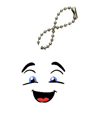 Marshmallow Smiley Face Diamond Keychain by Moonlight Printing ()