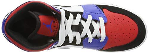 Nike Boy's Air Jordan 1 Mid (GS) Shoe White/Black-Hyper Royal/University Red, Size 3.5 M US Big Kid by Nike (Image #7)