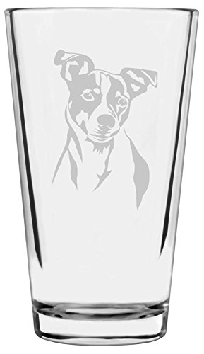 Jack Russell Terrier Dog Themed Etched All Purpose 16oz Libbey Pint Glass