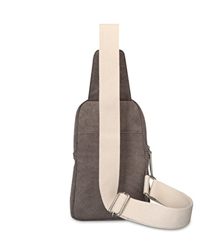 Wewod Bolsa de Hombro Hombre,Bolso de Pecho,Chest Bag de Fashion,Bolsa Lona Crossbody,Mochila de Hombro 15 x 24 x 8 cm (L*H*W) Gris claro