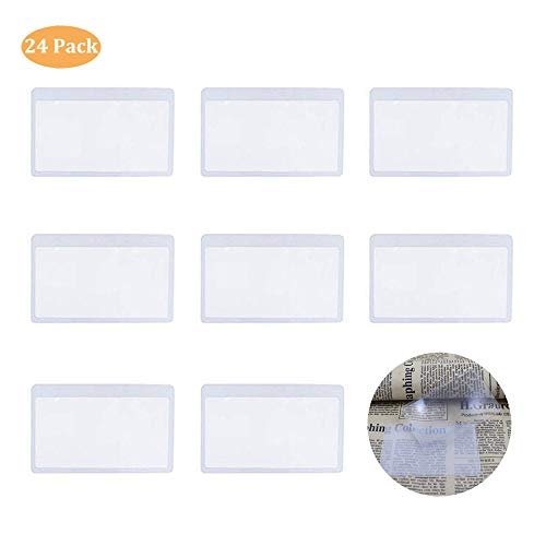 Fresnel Lens, PVC Plastic Magnifier, 3X Wallet Pocket Lens, Mini Magnifying Hand Lens Credit Card Size for Reading IRCHLYN 24 Pcs (8.5 x 5.5 cm)