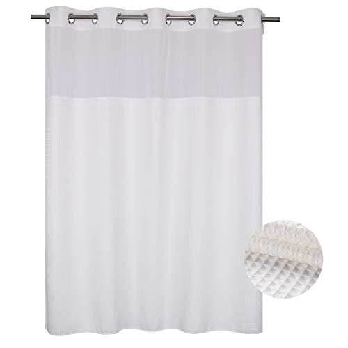 Waffle Weave Fabric Shower Curtain No Hooks Needed, Cotton Blend, With Span-in Repalcement Liner - Hotel Grade, Water Repellent, Machine Washable - 71x74, White (Curtain Waffle Shower Spa)