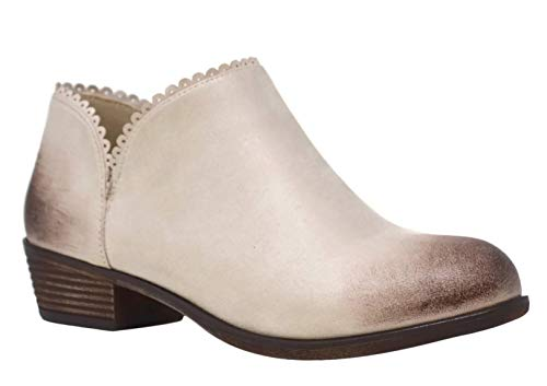 Top OffWhite Distressed Womens Booties Boho Vegan Leather Slip On Low Wedge Heel Closed Toe Designer Comfort Classic Cute Ver Zapatos de Mujer Dress Shoe Boot Teen Girl (Size 9, Beige)